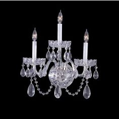 3 light crystal wall sconce with Majestic wood polished crystal