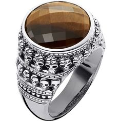 Thomas Sabo Rebel at Heart tiger's eye sterling silver ring ($275) ❤ liked on Polyvore featuring men's fashion, men's jewelry, men's rings, mens tiger eye ring, mens sterling silver tiger eye rings, mens sterling silver skull rings, mens sterling silver rings and thomas sabo mens rings