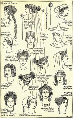 Women's hairstyles and accessories throughout ancient Greek history. Women's hairstyles and accessories throughout ancient Greek history. Ancient Greece Clothing, Ancient Greece Fashion, Greek History, Ancient History, Roman History, European History, American History, Greece Outfit, Rome Antique