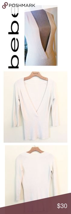 Bebe Boucle Sweater SOFT OHHHH SOOOO SOFT  Preloved Great Condition *Deep V Neckline *White (also available in navy blue)  *Inside Tags Removed for Comfort  *Size: Medium  *SOFT  *Sleeve Length 3/4 bebe Sweaters V-Necks