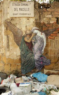 La coppa della morte Zilda .street art  Naples