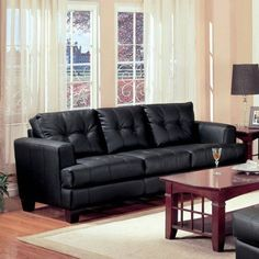 Coaster Fine Furniture 501681 Samuel Contemporary Leather Sofa, Black The Coaster 501681 Samuel Collection offers style and comfort with its clean lines Contemporary Leather Sofa, Black Leather Sofas, Leather Sectional Sofas, Black Sofa, Bonded Leather, Couches, Contemporary Furniture, Contemporary Style, Sofa Furniture