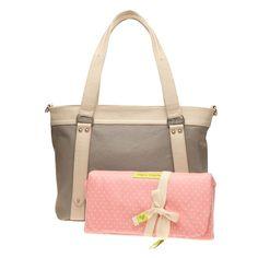 Dove Grey Zoey Bag with Bone Trim