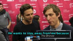 Sebastian Stan cant out-fox Thomas Middleditch on The Bronze red carpet