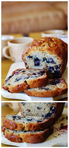 Banana bread with blueberries