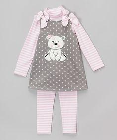Gray & Pink Bear Fleece Jumper Set - Infant, Toddler & Girls by Gerson & Gerson #zulily #zulilyfinds