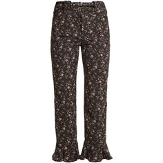 Rebecca Taylor Ruffled-cuff cropped floral-jacquard trousers (2.250.795 IDR) ❤ liked on Polyvore featuring pants, capris, cropped capri pants, print pants, flower pants, pull on pants and floral print pants