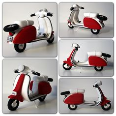 Lambretta jumping Clay Gijon Cute Polymer Clay, Fimo Clay, Polymer Clay Charms, Clay Projects, Clay Crafts, Vespa Cake, Bolo Artificial, Jumping Clay, Fondant Cake Toppers