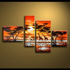 Beautiful Contemporary Wall Art Hand Painted Oil Painting Stretched Ready To Hang Landscape. This 4 panels canvas wall art is hand painted by Anmi.Z, instock - $145. To see more, visit OilPaintingShops.com