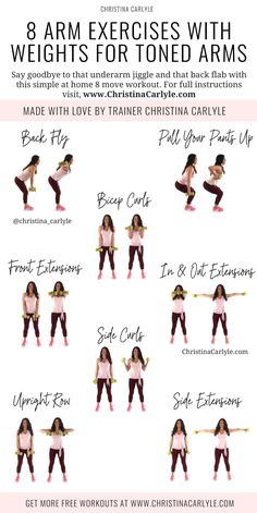 Burn fat and get toned arms fast with these 8 Easy Arm Exercises with Weights for Women. Get your dumbbells and start burning your arm fat christinacarlyle…. Training Fitness, Fitness Workouts, Yoga Fitness, Pilates Workout, Pop Pilates, Fitness Plan, Boxing Workout, Weight Training Routines, Strength Training Routines