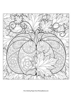 Fall Coloring Page Pumpkin And Leaves Adult PagesMandalas Free Printable