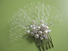 Pearl Rhinestone Birdcage Veil Bridal Hair Comb---Mini Ivory Birdcage Veil, wedding hair accessories, bridal headpieces, wedding hair comb, $48.00