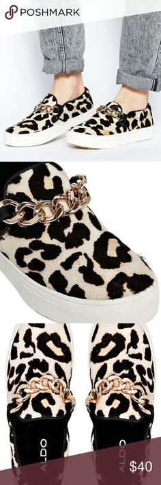 ALDO Leopard Print Chain Detail Slip on Sneakers ALDO leopard print pony hair with gold chain detail. Never worn. Does not come with box. **Check out my other listings to bundle and save!!** ALDO Shoes Sneakers