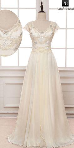 Elegant Silk-like Chiffon & Lace Scoop Neckline A-line Wedding Dress With Beadings & Belt & Bowknot