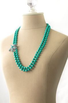 Starfish Brooch on Turquoise Beaded Necklace from Stella & Dot