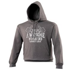 THIS IS WHAT AN AWESOME HUSBAND LOOKS LIKE - HOODIE - 123t USA FUNNY SLOGAN GIFTS