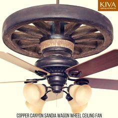Copper Canyon Wagon Wheel Ceiling Fan #WagonWheel #RanchHouse