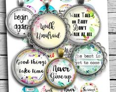 Inspirational Quotes Boho Spirit Round images for Jewelry making Printable Digital Collage Sheet Flip Flop Wreaths, Image Collage, Resin Pendant, Glass Pendants, Yet To Come, Up Girl, Unique Image, Collage Sheet, Digital Collage