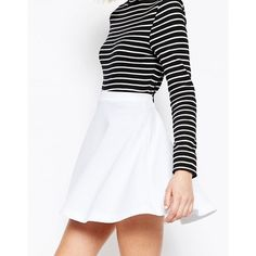 ASOS Skater Skirt in Texture (215 MXN) ❤ liked on Polyvore featuring skirts, white knee length skirt, white circle skirt, textured skirt, white flared skirt and tall skirts