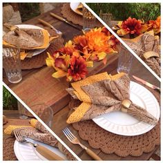 aquientrenos's photo on Instagram Fall Table Settings, Thanksgiving Table Settings, Festival Decorations, Table Decorations, Crochet Kitchen, White Plates, Sewing Accessories, Breakfast Nook, Tablescapes