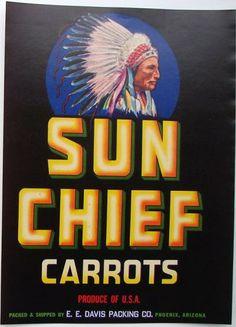 vintage vegetable labels | SUN CHIEF Vintage Arizona Vegetable Crate label, profile (V675)