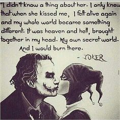 Image discovered by Harley Quinn. Find images and videos about love, quotes and joker on We Heart It - the app to get lost in what you love. Joker Quotes, Me Quotes, Qoutes, Joker Und Harley Quinn, Harley Quinn Tattoo, Citations Disney, Hearly Quinn, Nananana Batman, Madly In Love