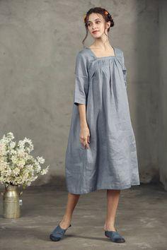 Final Sale All Size Still AvailableLinen Tunic Dress Grey Linen Tunic Dress, Linen Dresses, Day Dresses, Plus Size Dresses, Casual Summer Dresses, Simple Dresses, Gray Dress, Dress Up, Dress Long