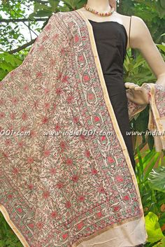 Stunning Hand Painted Madhubani Art Dupatta | India1001.com