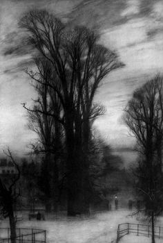 """william hyde - kensington gardens, etching (photogravure), from """"london impressions"""", 1898."""