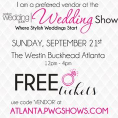 We are excited to be a vendor at the PWG Bridal Show! #ATLPWGSHOW