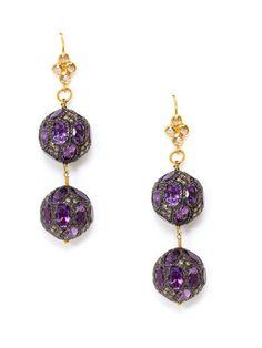 Karma Jewels Amethyst & Diamond Double Orb Drop Earrings