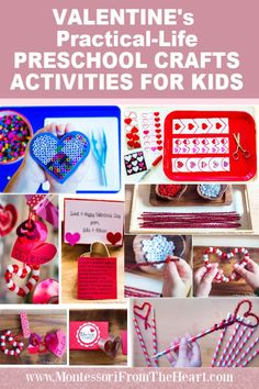 Montessori Preschool Valentine Practical-Life kids activities are fun creative crafts and class gifts to promote fine motor control, dexterity and concentration. Valentines Day Crafts For Preschoolers, Valentines Day Activities, Valentines For Kids, Preschool Craft Activities, Montessori Activities, Preschool Activities, Diy Valentine's Hearts, Practical Life, Crafty Kids