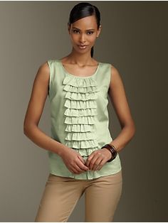 Love the waterfall ruffles down the front of this shell! Would look great under a suit jacket!  Talbots