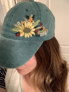 Your place to buy and sell all things handmade Custom Embroidered Hats, Embroidered Clothes, Embroidered Flowers, Hat Embroidery, Flower Embroidery Designs, Bone Bordado, Creative Hairstyles, Cute Hats, Diy Clothes