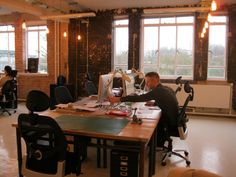 Temple Studios Creative Warehouse Offices; the space isn't all that exciting, but the lighting is out of this world.