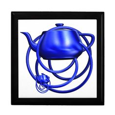 #Cobalt Blue #Teapots 3D Digital #Sculpture unique #fractal art on ceramic tiled gift boxes starting at $27.95 from my #zazzle