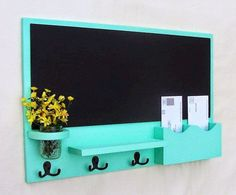 Mail Organizer Chalkboard Mail Organizer Large Chalkboard Mail Holder Letter Holder Jar Vase Organizer Coat Rack Wood is part of File Organization Mail Station - 2 H Also available with one large mail slot with no divider The flowers are not included Diy Tableau Noir, Mail Station, Large Chalkboard, Blackboard Wall, Mail Holder, Diy Key Holder, Key Holders, Diy Crafts Key Holder, Mail And Key Holder