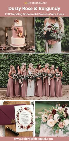Fall wedding bridesmaids - Fall wedding bridesmaid dresses color palette dusty rose bridesmaid dresses with burgundy wedding bouquets, invitations and cakes colsbm bridesmaids dustyrosedress weddingideas dustyrosewe Dusty Rose Bridesmaid Dresses, Fall Wedding Bridesmaids, Dusty Rose Dress, Dusty Rose Wedding, Bridesmaid Dress Colors, Fall Wedding Dresses, Burgundy Wedding, Wedding Bouquets, Wedding Cakes