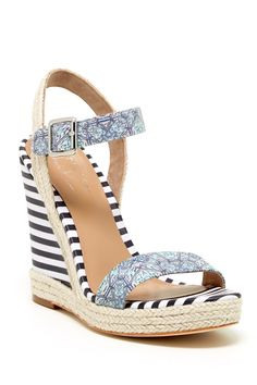 This navy stripe wedge is perfect for a winter vacation.