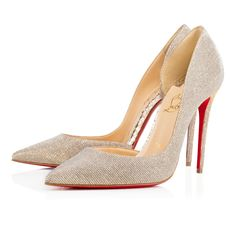 """Christian Louboutin's signature half d'Orsay, """"Iriza,"""" is a stunning look for women who aren't afraid to be a little bit exposed. Her cut-out vamp creates a sexy and utterly feminine shape. This 100mm silver glittex and gold 'sirene' laminated leather version is the perfect Spring/Summer accent pump."""