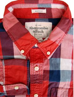 bbbc297335 ABERCROMBIE & FITCH Shirt Mens 16.5 L Multi-Coloured Check Patchwork MUSCLE  - £29.99