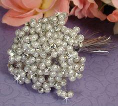 Silver White Beaded Pearl Flower Bouquet Jewelry Bundle