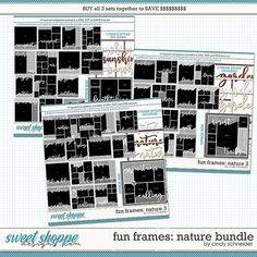 Cindy's Layered Templates - Fun Frames Nature Bundle by Cindy Schneider Frame Template, Scrapbook Templates, Digital Scrapbooking, Cool Photos, Frames, Make It Yourself, Nature, Fun, Projects