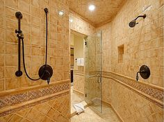 love the border pattern- but would it be hard to keep clean? Guest Bathrooms, Dream Bathrooms, Tile Bathrooms, Bathroom Ideas, Room Layout Design, Dream Shower, Laundry Design, Tile Projects, Tile Design