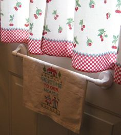 cherry curtains for the kitchen windows  i'd prefer a little