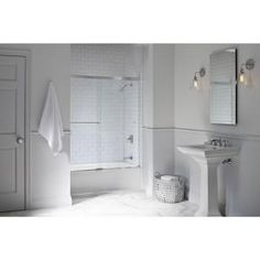 Delta Classic 400 Curve 60 in. x 62 in. Frameless Sliding Tub Door in Stainless-B55910-6030-SS - The Home Depot Contemporary Towel Bars, Contemporary Furniture, Frameless Sliding Shower Doors, Sliding Door, Bathtub Doors, Pedestal Sink, Single Doors, Traditional Bathroom, Home Depot