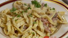Pancetta Bacon Pasta Recipe from Food Network. I used regular bacon instead of Pancetta and added peas. It turned out great! Bacon Pasta Recipes, Dove Recipes, Food Network Recipes, Cooking Recipes, Pork Belly, How To Cook Pasta, Pasta Dishes, Pasta Food, Italian Recipes