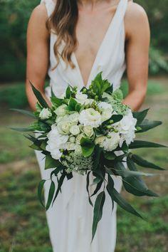 Green and white modern wedding bouquet