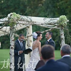 The all birch canopy was created on-site and it was draped in soft chiffon with hydrangeas and other greenery.