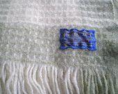 Pendleton wool blanket / plaid cream green / vintage picnic blanket / antique camping blanket / throw / Winter / cozy Fall / fringe / sage